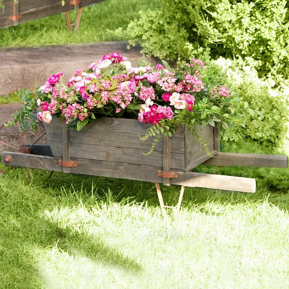 Plow Hearth Extra Large Solid Wood Steel Wheelbarrow Planter
