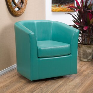 Attractive Wilmore Faux Leather Swivel Barrel Chair