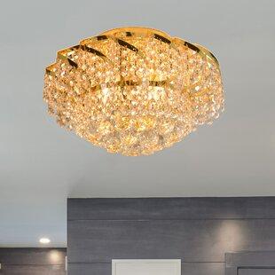Carson 3-Light Glass Shaded Flush Mount ByHouse of Hampton
