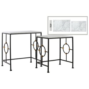 Anchoretta Rectangular 2 Piece Console Table Set with Marble Top By Everly Quinn