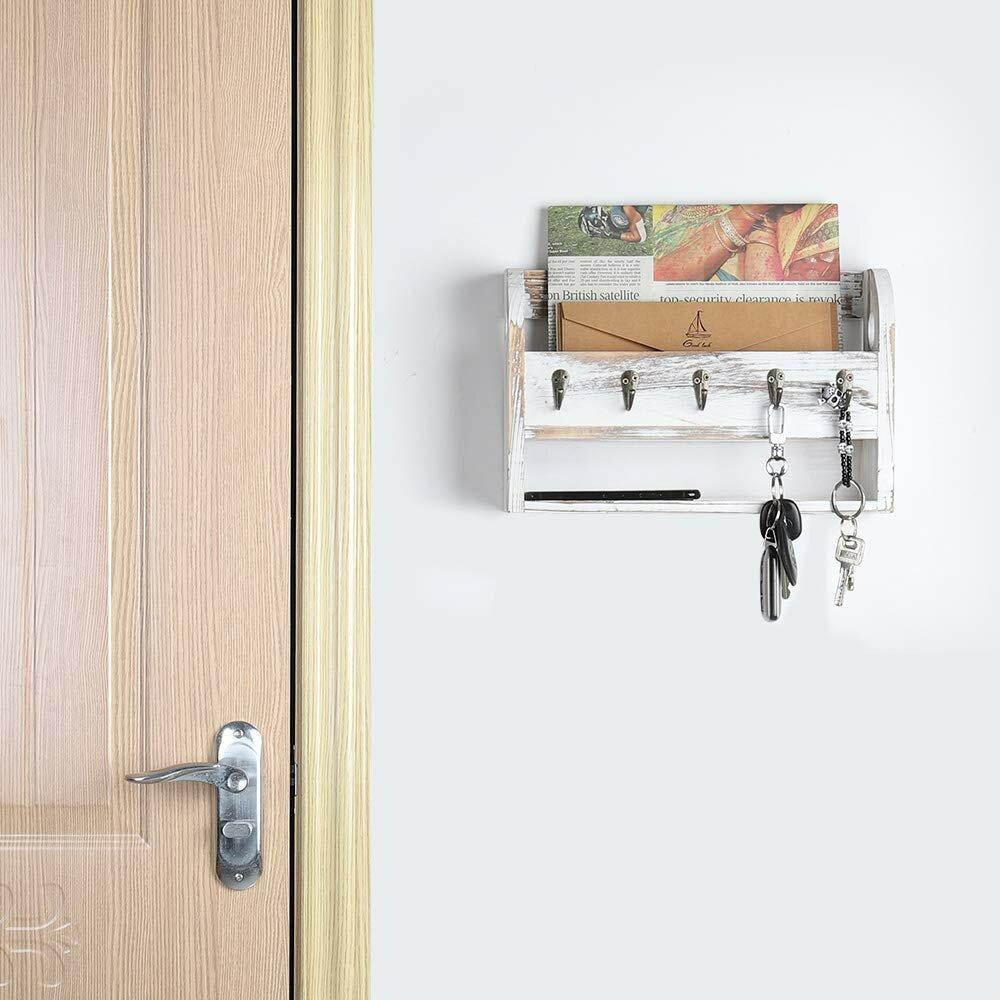 Gracie Oaks Bibb Wall Key Mail Organizer With Key Hooks And Mail Storage Reviews Wayfair