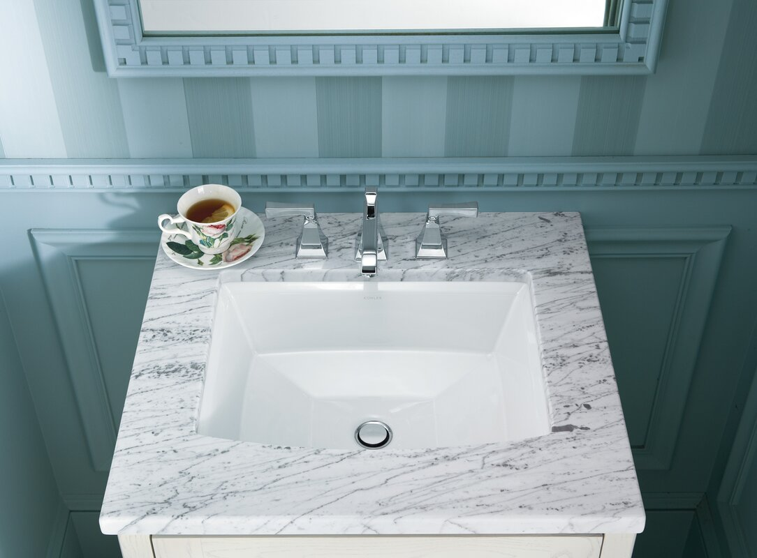 DECOLAV Sondra Solid Surface Other Rectangular Undermount Bathroom Sink  with Overflow