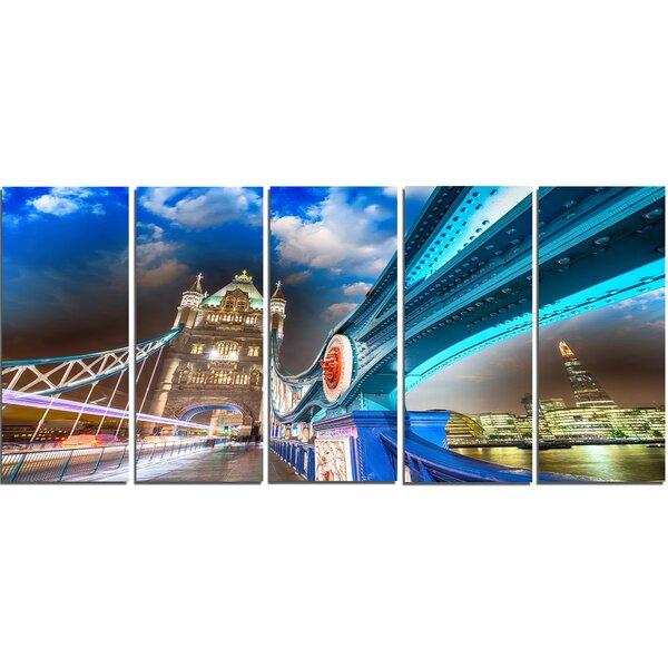 Designart Night Over Tower Bridge In London 5 Piece Wall Art On Wrapped Canvas Set Wayfair