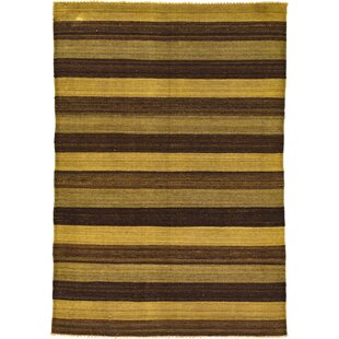 Best Reviews One-of-a-Kind Warminster Hand-Knotted 4'1 x 5'10 Wool Brown/Yellow Area Rug By Isabelline