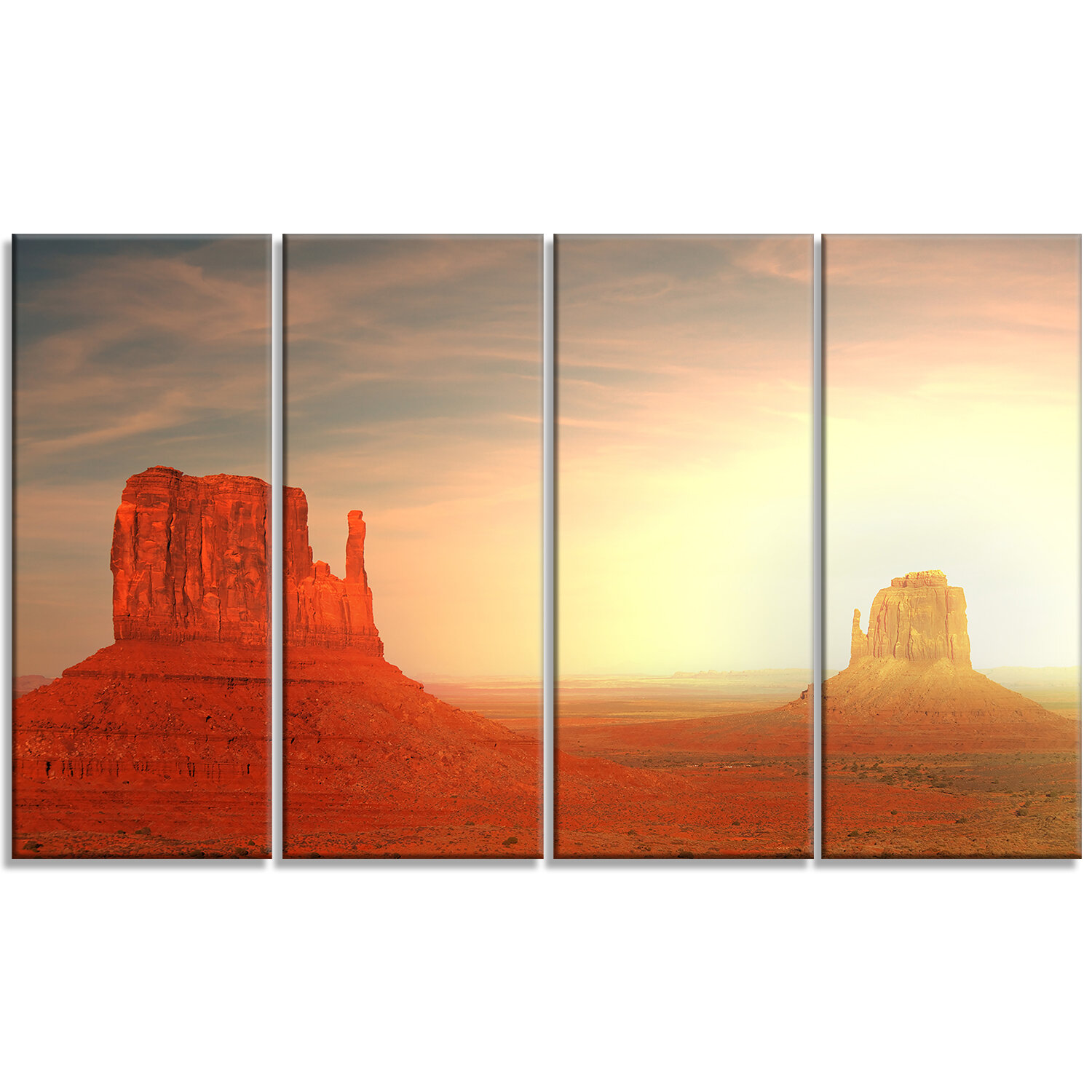 Designart Monument Valley Utah Usa 4 Piece Photographic Print On Wrapped Canvas Set Wayfair