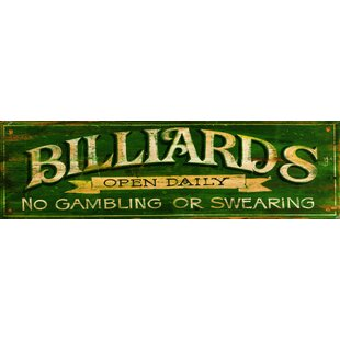 'Billiards Green' Vintage Advertisement Plaque by Red Barrel Studio