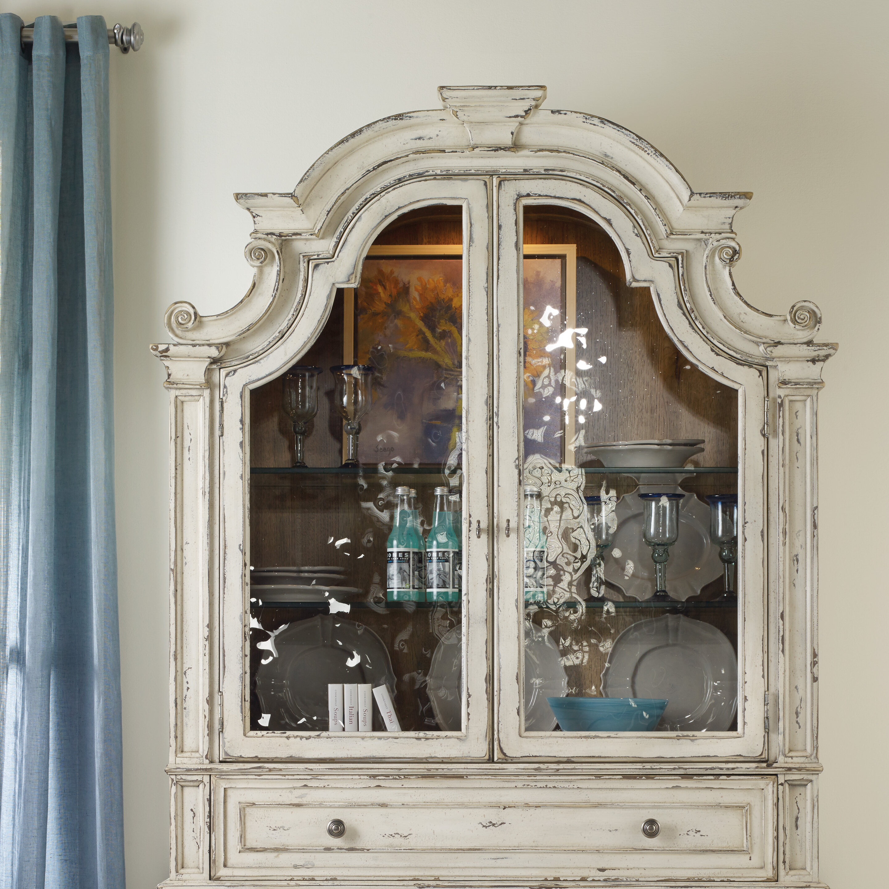 cabinet stone with hutch painted fence in distressed pin buffet farmhouse paint oak milk modern