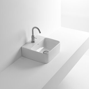 Best Whitestone Net Ceramic 18 Wall Mount Bathroom Sink with Overflow ByWS Bath Collections