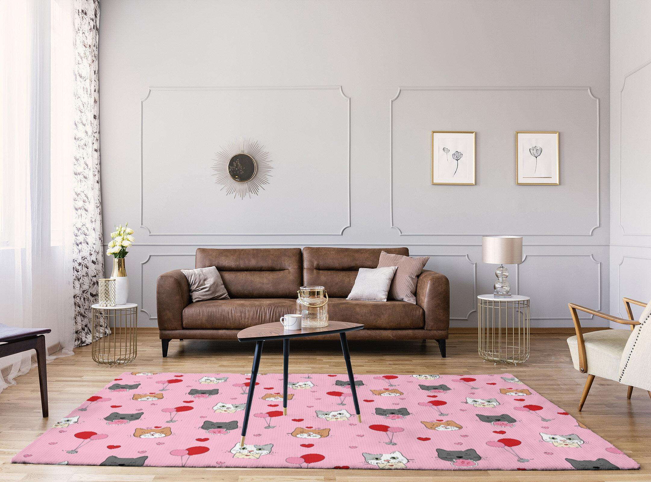 East Urban Home Handmade Pink Red Gray Area Rug Wayfair