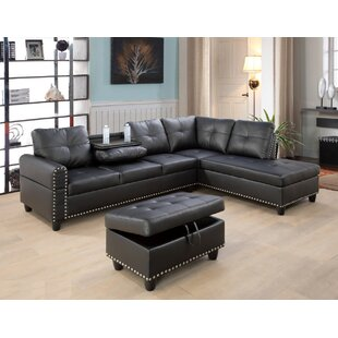 Bardolph 972 Faux Leather Corner Sectional with Ottoman by Winston Porter
