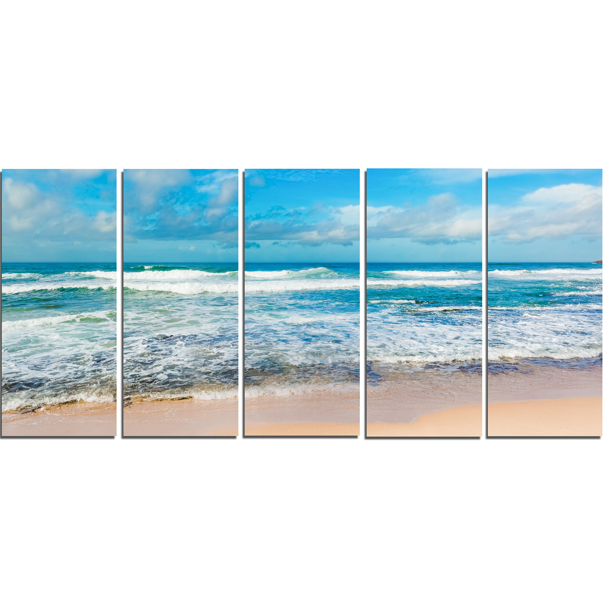 Designart Indian Ocean Panoramic View 5 Piece Photographic Print On Wrapped Canvas Set Wayfair