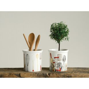 Stoneware 2 Piece Utensil Crock Set