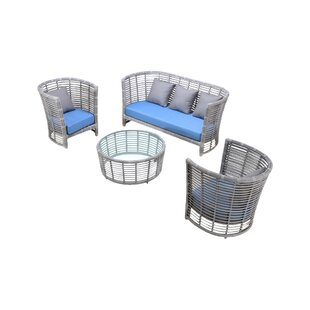 Chidi 4 Piece Sofa Set With Cushions by Bungalow Rose Purchase