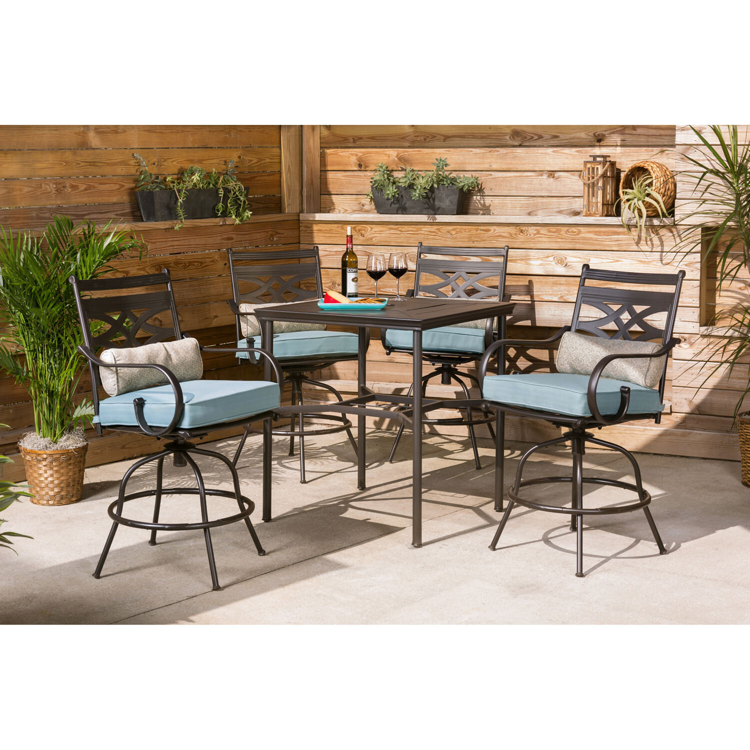 Charlton Home Gehlert 5 Piece Bar Height Dining Set With Cushions Wayfair