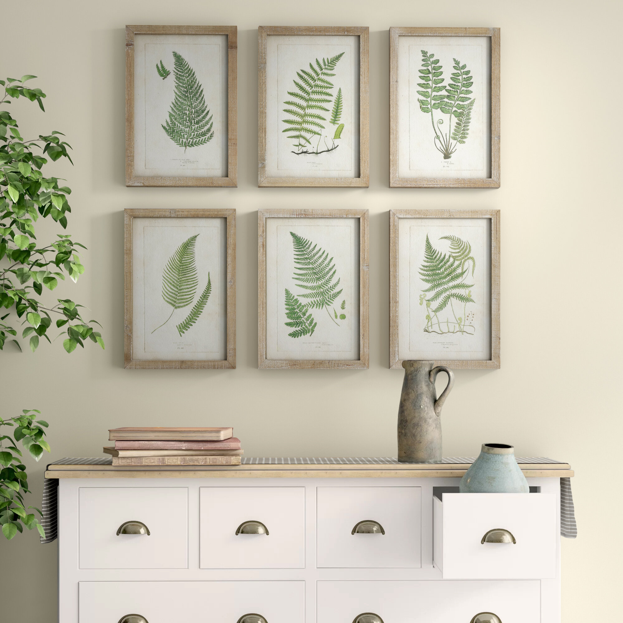 Wood Framed Wall Decor With Fern Fronds