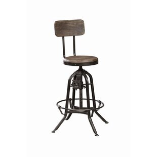 Kylie Adjustable Height Swivel Bar Stool by 17 Stories