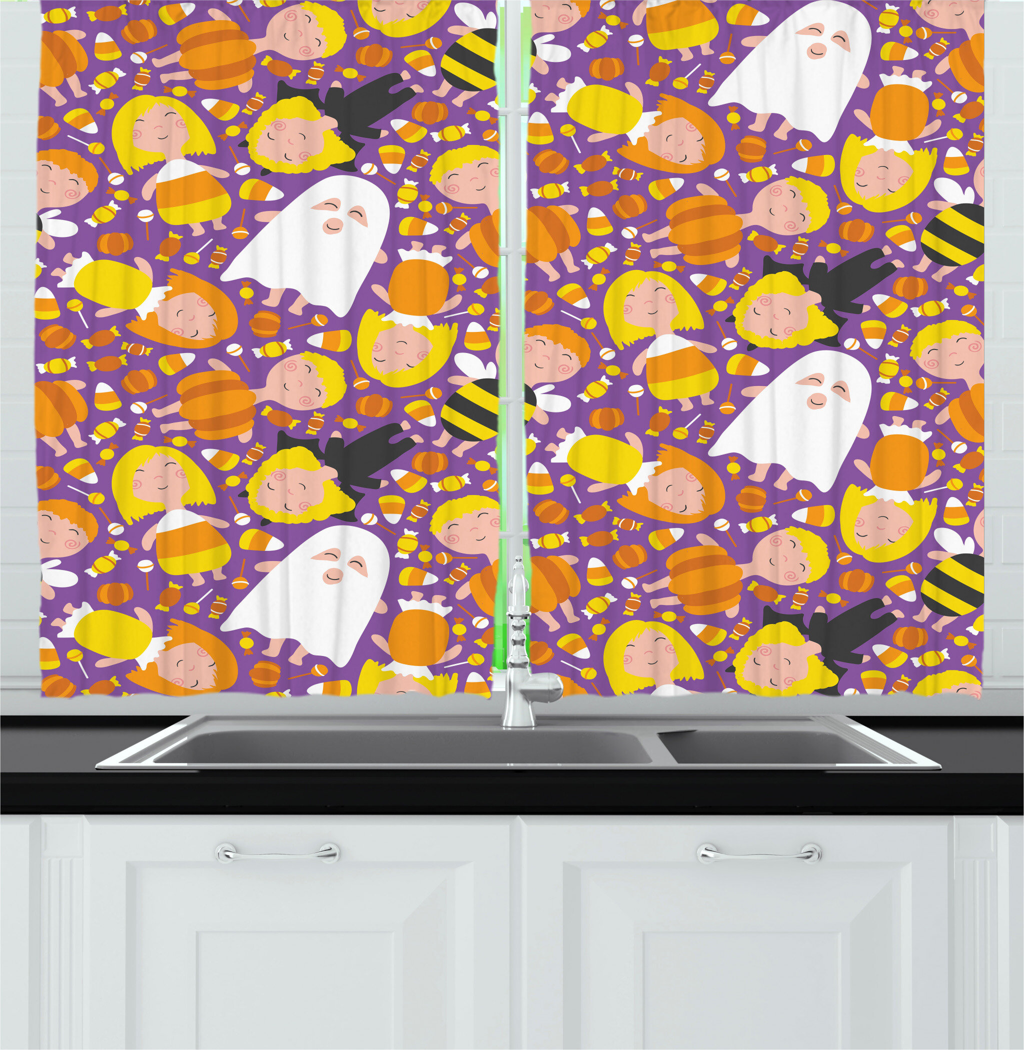 East Urban Home Ghost Kitchen Curtain