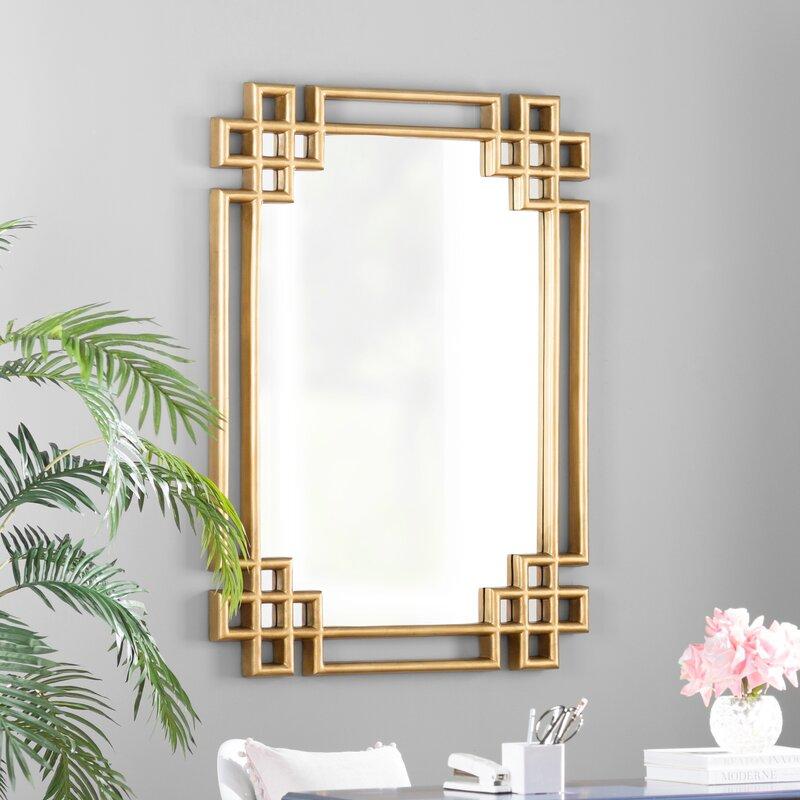 Willa Arlo Interiors Hrima Rectangle Gold Wall Mirror ...