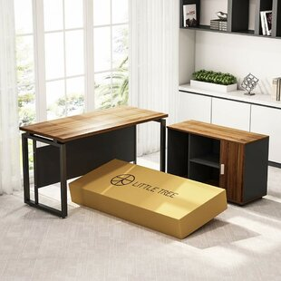 L-Shape Computer Desk with File Cabinet (Set of 2)
