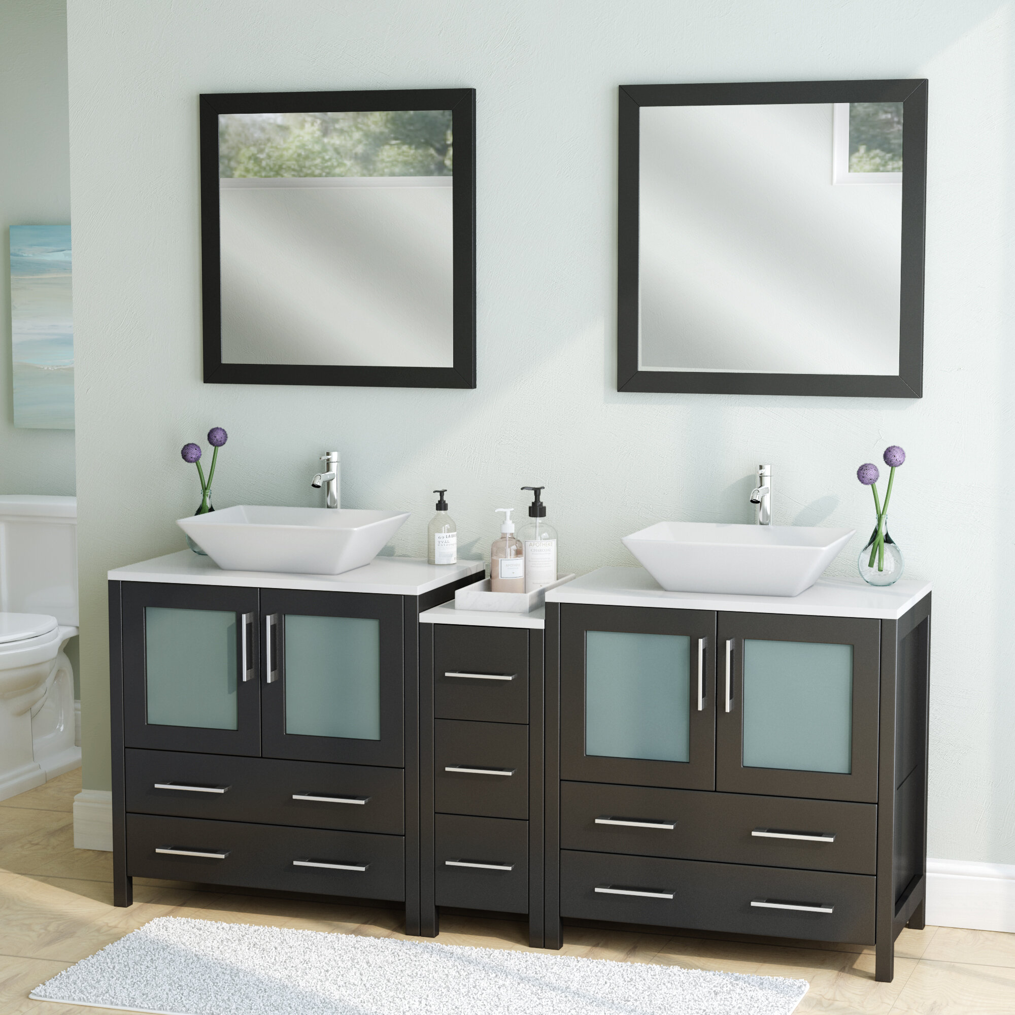 Wade Logan Karson Framed 72 Double Bathroom Vanity Set With Mirror Reviews Wayfair