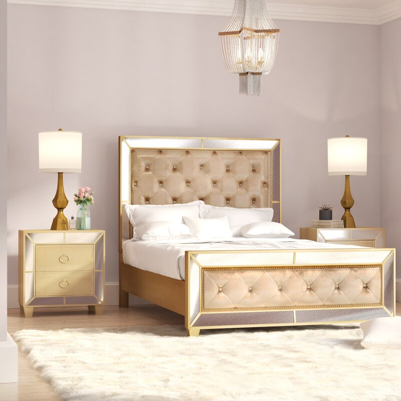 Willa Arlo Interiors Alasdair Mirrored Tufted Platform 3 Piece Bedroom Set Wayfair