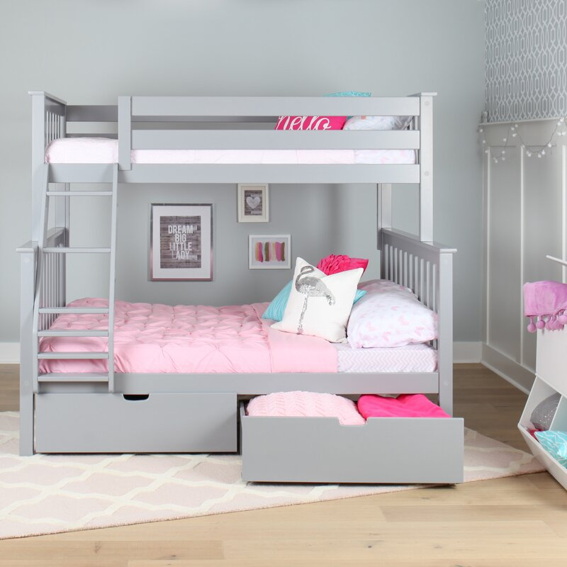 Bunk Bed With Room Under max & lily solid wood twin over fulll bunk bed with under bed