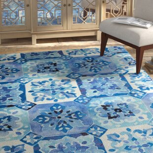 Best Amblewood Painted Tile Blue/White Area Rug By Bungalow Rose