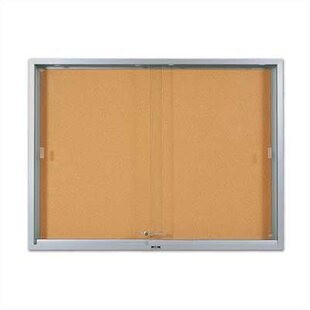 'S' Series Sliding Glass Wall Mounted Enclosed Bulletin Board by Marsh