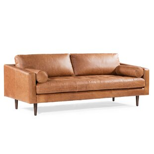 Kate Genuine Leather 88.5 Square Arm Sofa by Foundry Select