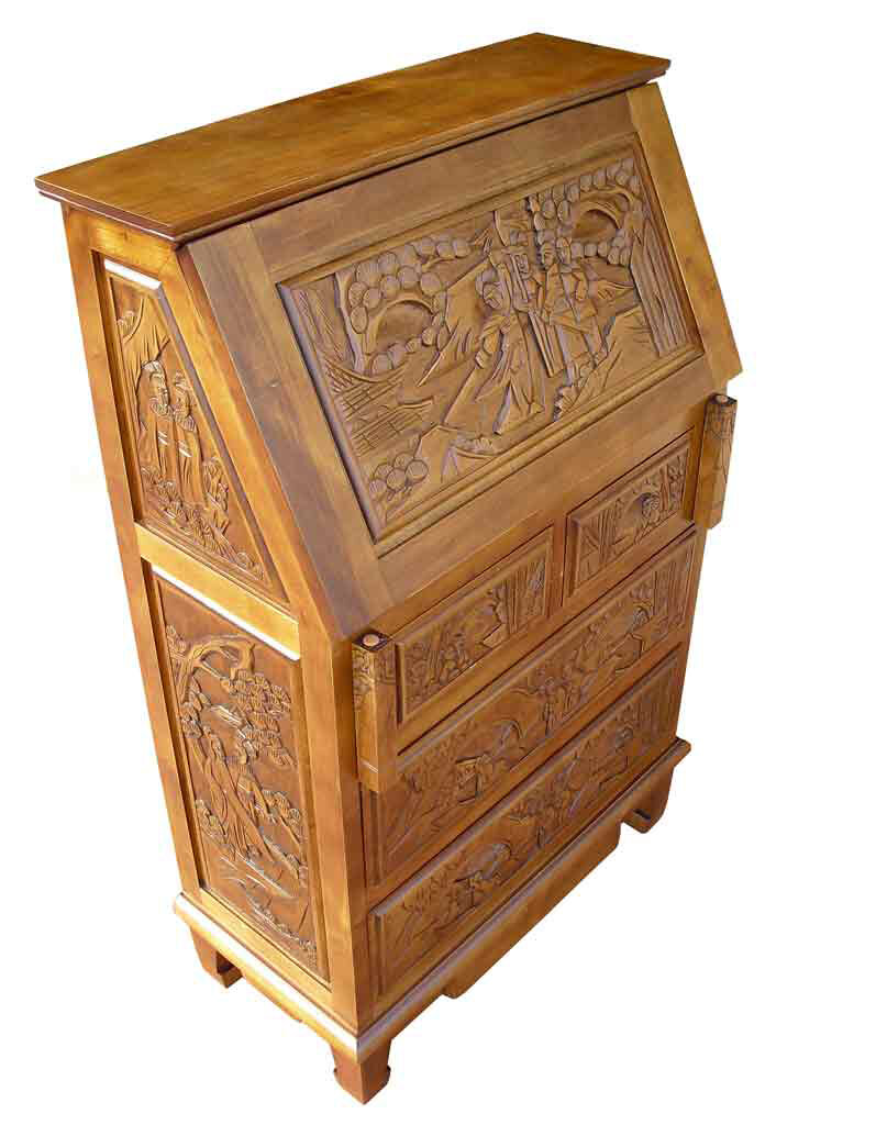 Grand International Decor Chinese Carved Secretary Desk Reviews Wayfair Co Uk