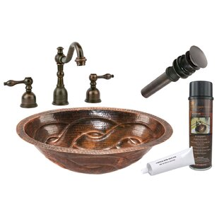 Premier Copper Products Braid Hammered Metal Oval Undermount Bathroom Sink with Faucet