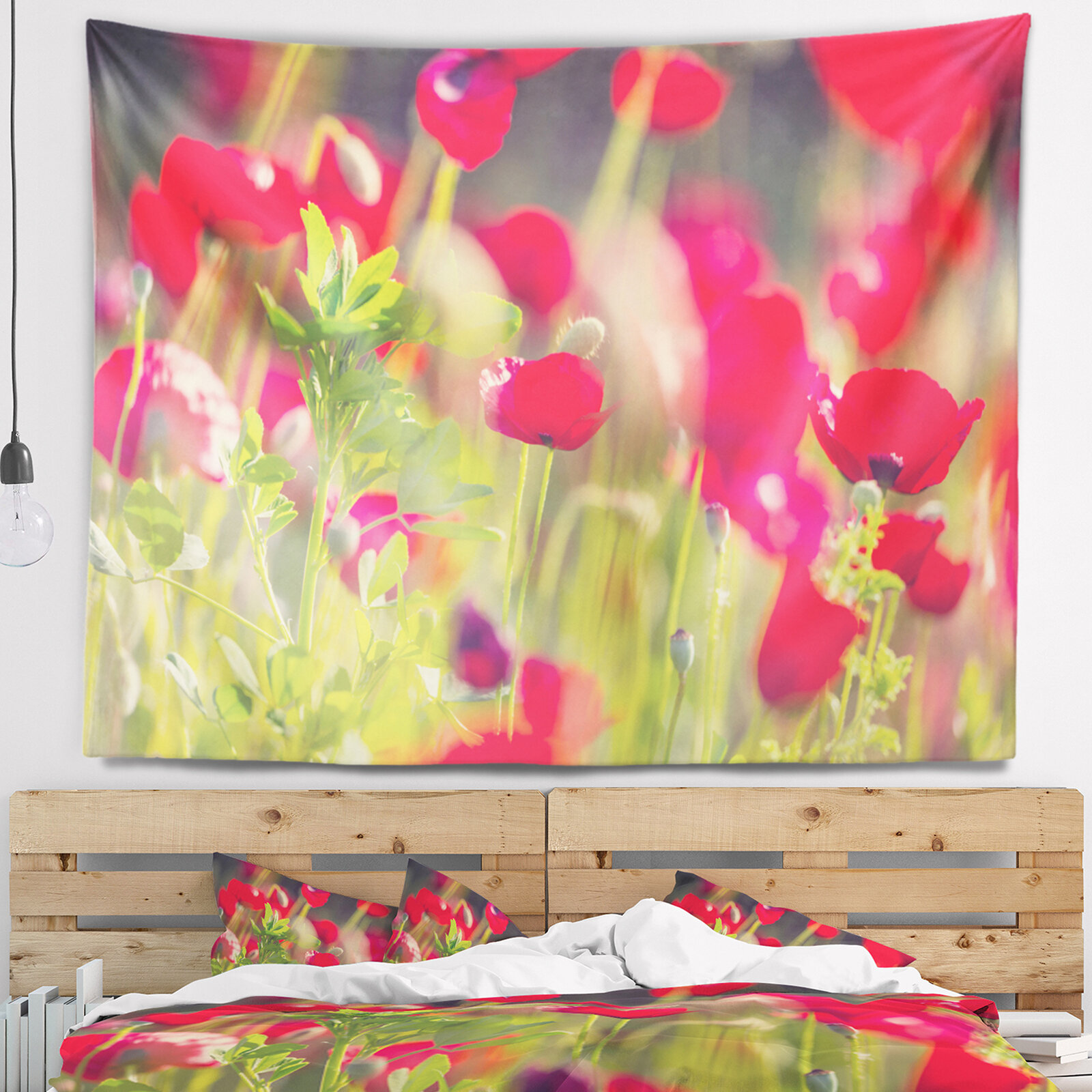 East Urban Home Flower Red Poppies on Green Background Tapestry and ...