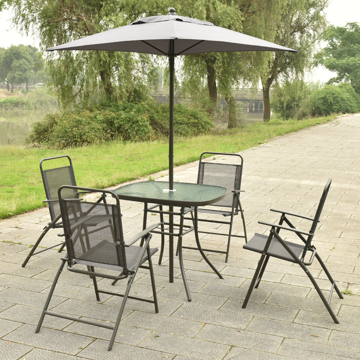 Costway Patio Garden Set Furniture with Folding Chairs Table with Umbrella  Grey