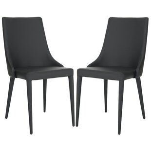 modern contemporary black leather chrome chair allmodern