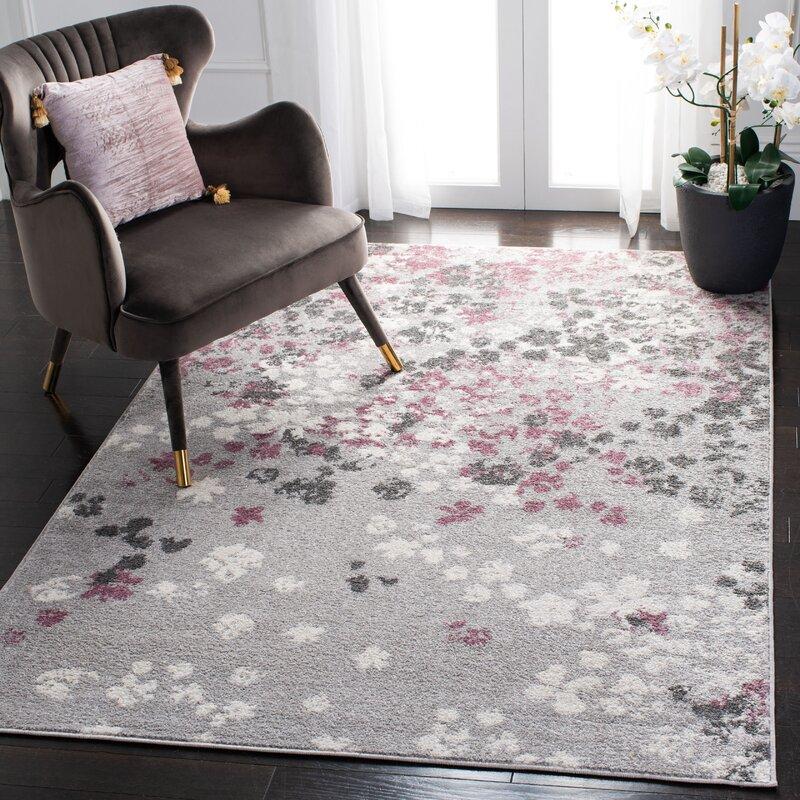 Winston Porter Galli Floral Gray Purple Area Rug Reviews Wayfair Ca