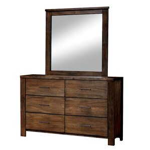 Zena 6 Drawer Dresser with Mirror by Loon Peak