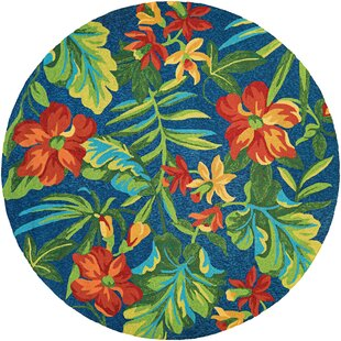 Amberjack Tropical Orchid Aqua Blue Indoor/Outdoor Area Rug