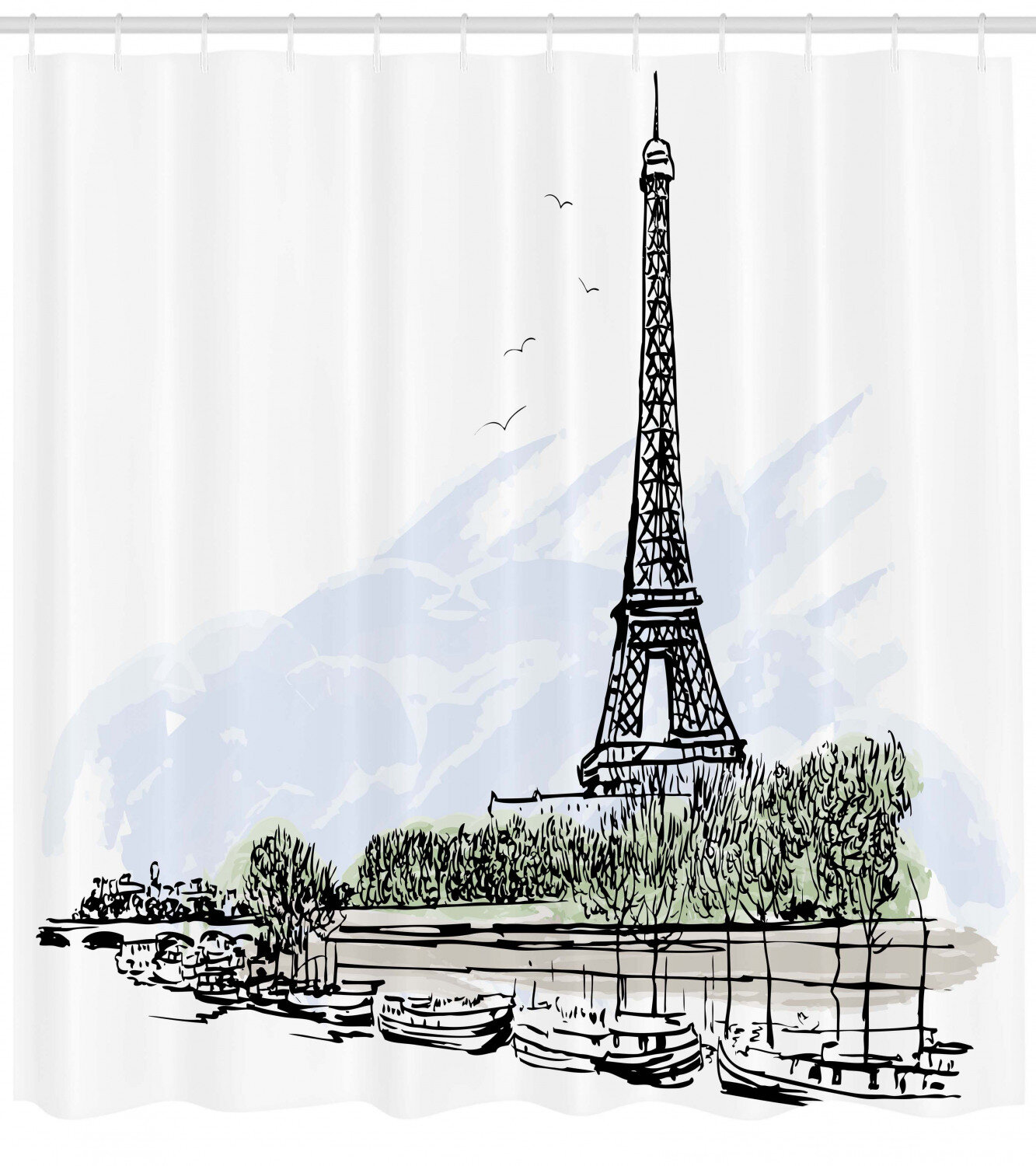 Brinley Paris Architecture Theme Illustration Of Eiffel Tower Birds And Trees Pattern Single Shower Curtain