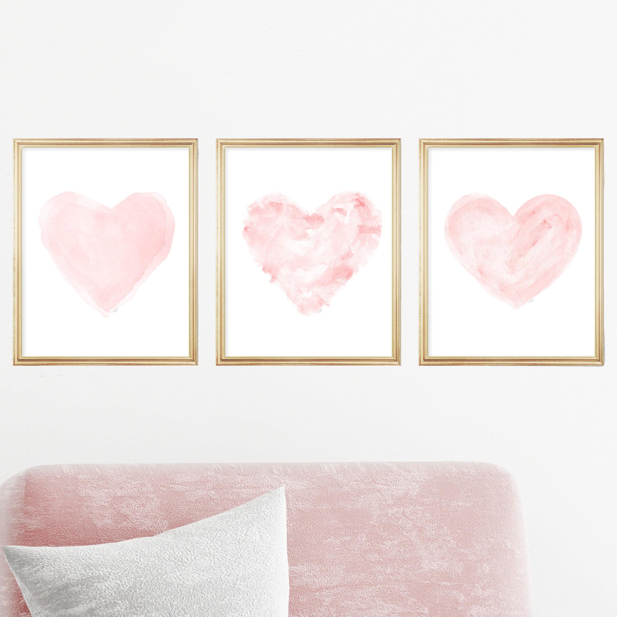 Outside In Art Studio Romantic Watercolor Heart Prints 3 Piece Set Paper Print Reviews Wayfair