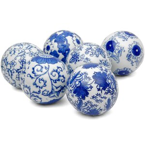 Floral Design Decorative Ball Sculpture (Set of 6)