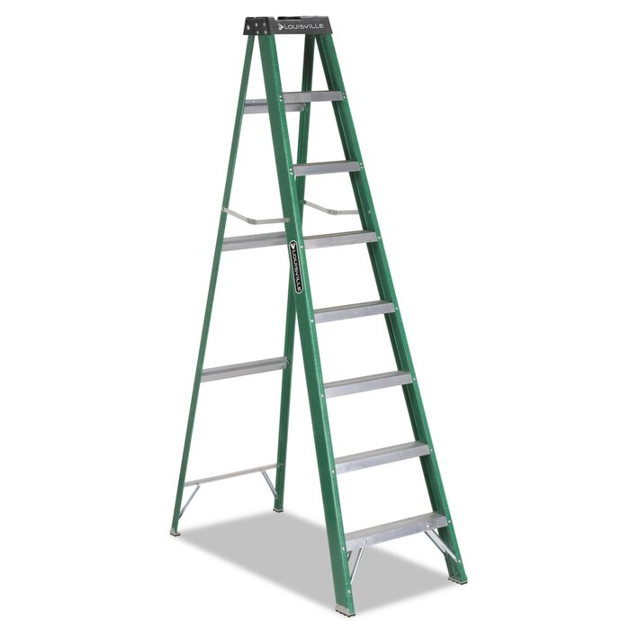 Astounding 8 Ft Fiberglass Step Ladder With 225 Lb Load Capacity Pabps2019 Chair Design Images Pabps2019Com