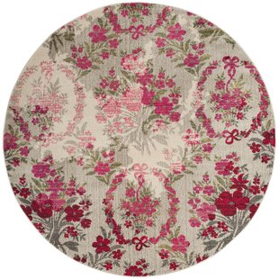 Arianna Ivory/Pink Area Rug by Bungalow Rose