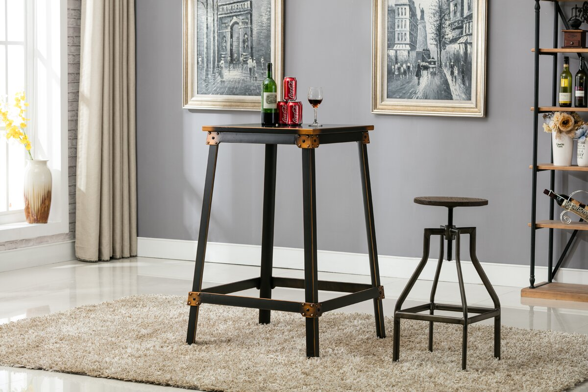 ErikC French Industrial Farmhouse Adjustable Height Swivel Counter ...