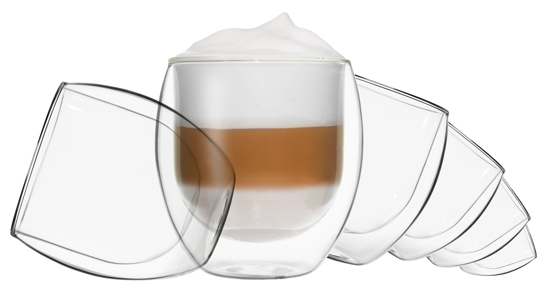 Doppelwandige Gläser 4er Set Cola Ice Tea Wasser Saft Cocktail Kaffee Tee
