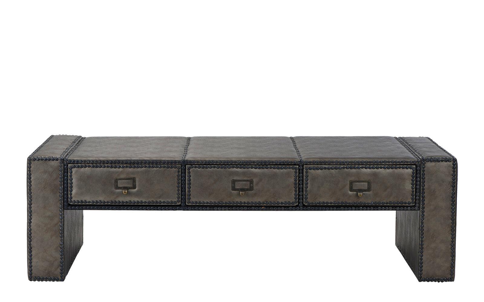 Charlton Home Kassik Solid Wood Sled Coffee Table With Storage Wayfair