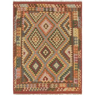 Order One-of-a-Kind Lorain Hand-Knotted 5' x 6'10 Wool Green/Burgundy Area Rug By Isabelline