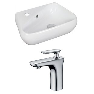 Read Reviews Ceramic 18 Wall Mount Bathroom Sink with Faucet and Overflow By American Imaginations