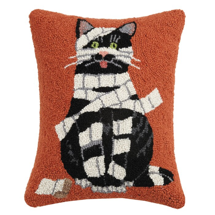 The Holiday Aisle Mcgonigal Wrapped Mummy Cat Hook Wool Lumbar Pillow Wayfair