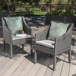 Ivy Bronx Arciniega Outdoor Wicker Patio Dining Chair (Set of 2)