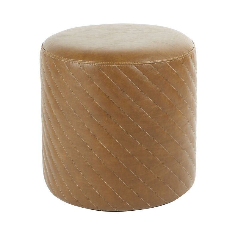 17 Stories  Izabella Diamond Stitched Round Cocktail Ottoman Upholstery Color: Brown